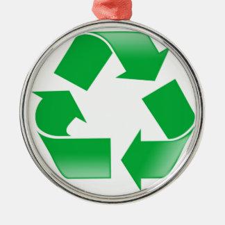 KLASSIKER recycelnd, RECYCELN Sie SYMBOL Silbernes Ornament
