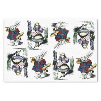 Klassische Alice im Wunderland u. weißes Kaninchen Seidenpapier