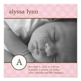Klassische AnfangsBaby-Geburts-Mitteilung Quadratische 13,3 Cm Einladungskarte