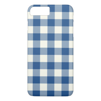 Klassische blaue Gingham iPhone 7 Plusfall iPhone 8 Plus/7 Plus Hülle