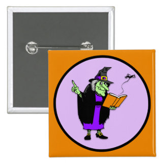 Klassische Cartoon-Halloween-Hexe Quadratischer Button 5,1 Cm
