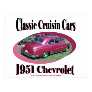 Klassische Cruisin Autos Chevrolet 1951 Postkarte