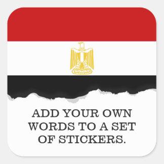 Klassische Flagge von Ägypten Quadratischer Aufkleber