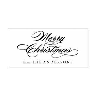 Klassische frohe Weihnacht-Skript-Rücksendeadresse Gummistempel