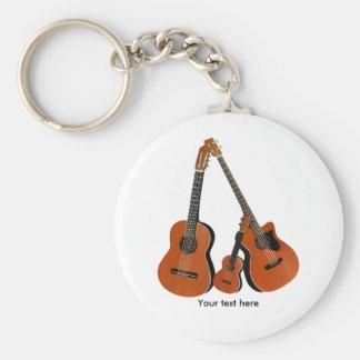 Klassische Gitarreakustischer Baß und Ukulele Schlüsselanhänger
