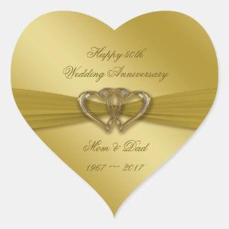Klassische goldene 50. Hochzeitstag-Aufkleber Herz-Aufkleber