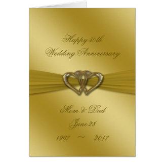 Klassische goldene 50. Hochzeitstag-Karte Karte