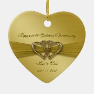 Klassische goldene 50. Hochzeitstag-Verzierung Keramik Herz-Ornament