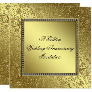 Klassische goldene Hochzeitstag-Einladungs-Karte Karte