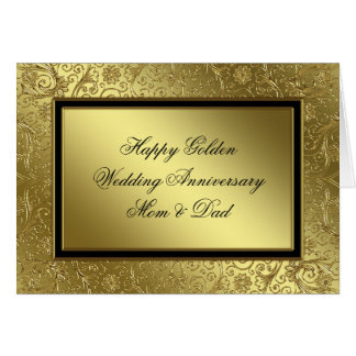 Klassische goldene Hochzeitstag-Karte Karte