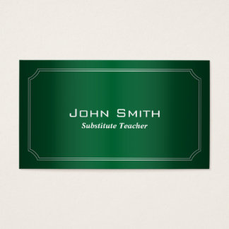 Klassische grüne Vertretungslehrer-Visitenkarte Visitenkarte