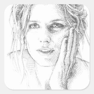 Klassische Hand gezeichnetes Porträt Quadratischer Aufkleber