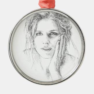Klassische Hand gezeichnetes Porträt Silbernes Ornament