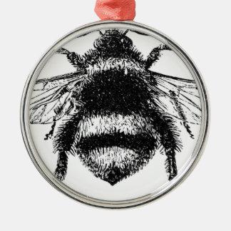 Klassische Hummel-Biene Silbernes Ornament