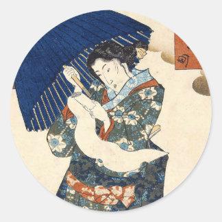 Klassische japanische ukiyo-e Geisha mit Runder Aufkleber