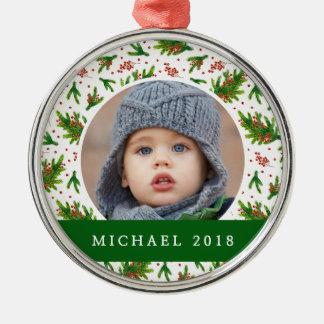 Klassische Kiefern-Niederlassung des Weihnachten| Silbernes Ornament
