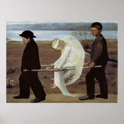 Klassische Kunst verwundeter Engelsplakatdruck Posterdruck