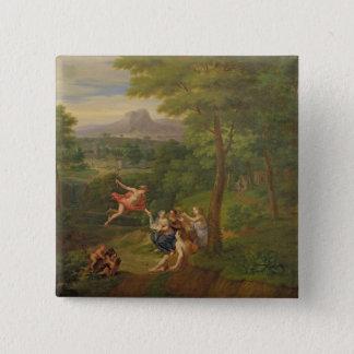Klassische Landschaft mit Mercury, welches das Bi Quadratischer Button 5,1 Cm