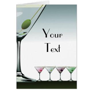 Klassische Martini-Cocktail-Anmerkungs-Karte Mitteilungskarte