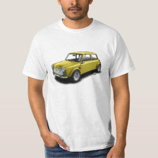 Klassische Miniauto des Gelb-1969 auf weißem T - T-Shirt