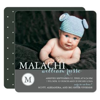 Klassische Monogramm-Baby-Geburts-Mitteilung Quadratische 13,3 Cm Einladungskarte