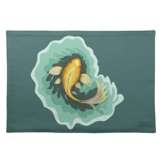 Klassische orange Koi Fische Stofftischset