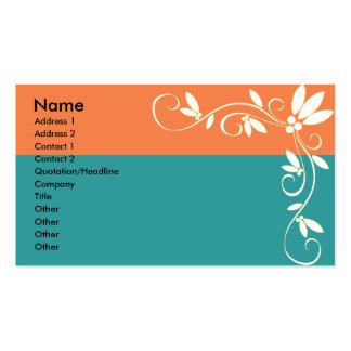 Klassische orange und grüne Visitenkarte