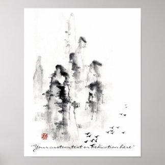 Klassische orientalische chinesische sumi-e Tinten Posterdrucke