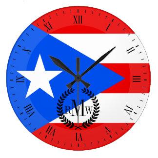 Klassische puertorikanische Flagge Große Wanduhr