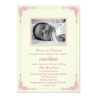 Klassische Rahmen-Foto-Taufe/Taufeinladung 12,7 X 17,8 Cm Einladungskarte