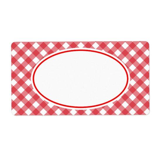 Klassische rote Gingham-Küchen-Aufkleber Versandetikett