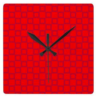 Klassische rote und lila Wand-Uhr Quadratische Wanduhr