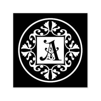 Klassische Schwarzweiss-Monogramm-Initiale A Permastempel