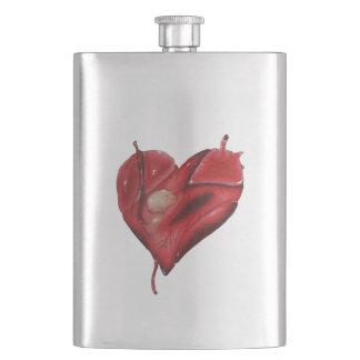 Klassische Stahlflasche mit grafischem Herzen Flachmann
