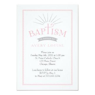 Klassische Strahlen-Rosa-Taufe-Einladung Karte