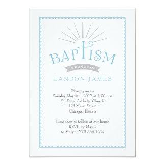 Klassische Strahlen-Taufe-Einladung Karte