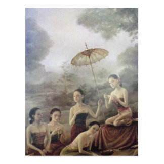 klassische thailändische Porträtdruckpostkarte Postkarte
