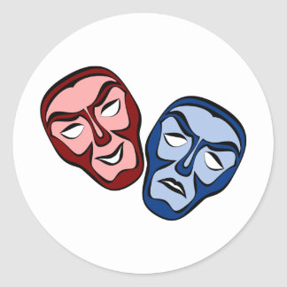 Klassische Theater-Gesichtsmasken Runder Aufkleber
