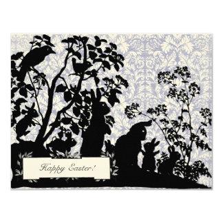 Klassische Vintage Häschen-Ostern-Blau-Grüße 10,8 X 14 Cm Einladungskarte