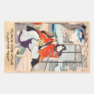 Klassische Vintage japanische ukiyo-e Rechteckiger Aufkleber