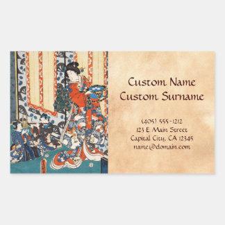 Klassische Vintage ukiyo-e Geisha- und Kinderkunst Rechteckiger Aufkleber