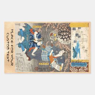 Klassische Vintage ukiyo-e Utagawa Samuraikunst Rechteckiger Aufkleber