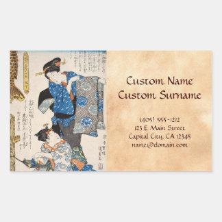 Klassische Vintage ukiyo-e zwei Geishas Utagawa Rechteckiger Aufkleber