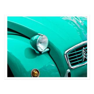 Klassischer Auto-Grill und Scheinwerfer-Fotografie Postkarte