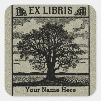 Klassischer Baum mit Bücher ex Libris Buchzeichen Quadrataufkleber