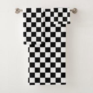 Klassischer Checkered laufender Sport-Karo Badhandtuch Set