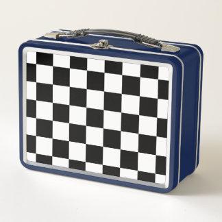 Klassischer Checkered laufender Sport-Karo Metall Lunch Box