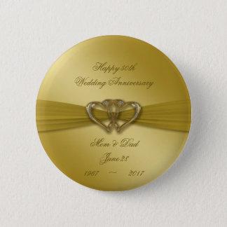 Klassischer goldener 50. Hochzeitstag-Knopf Runder Button 5,7 Cm