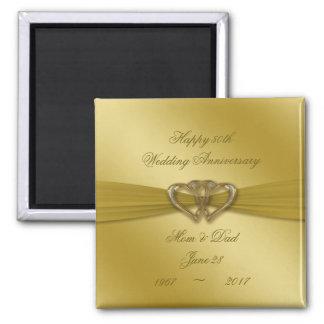 Klassischer goldener 50. Hochzeitstag-Magnet Quadratischer Magnet
