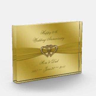 Klassischer goldener 50. Hochzeitstag-Preis Acryl Auszeichnung